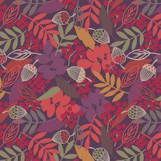 Lewis & Irene - Autumn Fields - Accorns & Leaves (Blackberry) - Sew Scrumptious Fabrics