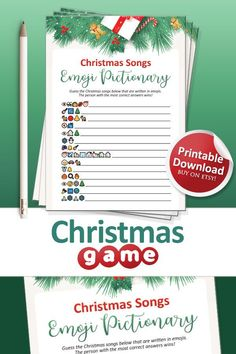 Printable Christmas Games, Emoji Games, Have Some Fun, Songs, Writing, Christmas Ornaments, Holiday Decor, Friends, Party