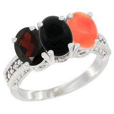 14K White Gold Natural Garnet, Black Onyx and Coral Ring 3-Stone 7x5 mm Oval Diamond Accent, sizes 5 - 10 * Additional details at the pin image, click it  : Ring Bands