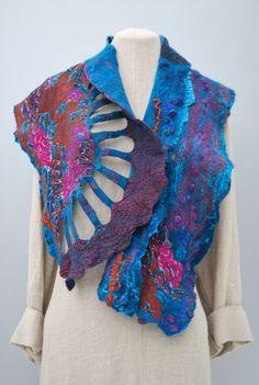 Extraordinary hand felted art scarf by sassafrasdesignl on Etsy,