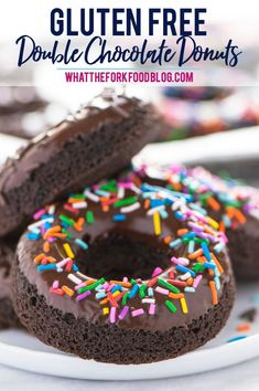 Gluten Free Baked Double Chocolate Donuts are the breakfast you've been craving! They're light and incredibly easy to make. Perfect for Saturday morning or Sunday brunch! These can easily be made dairy free too. Easy donut recipe from Gluten Free Donuts, Gluten Free Baking, Gluten Free Desserts, Chocolate Donuts, Chocolate Recipes, Chocolate Glaze, Easy Donut Recipe, Donut Recipes, Vegan Recipes