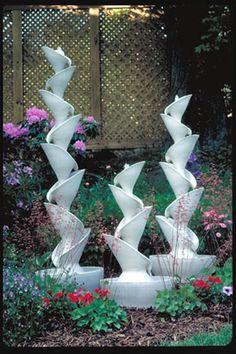 Stoneware Fountain by robert compton pottery Ceramic Clay, Ceramic Pottery, Pottery Art, Garden Totems, Garden Fountains, Waterfall Fountain, Tadelakt, Garden Deco, Pottery Sculpture