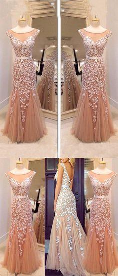 2017 prom dress, mermaid long prom dress, champagne prom dress, dancing dress, evening dress, party dress, long prom dress
