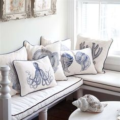 Embroided cushions inspired by the seaside and sealife...