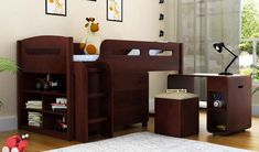 Add this charming Lucifer Bunk Bed With Storage to your child's room and it will enhance the beauty of interiors manifold. The pleasing design and side storage shelf makes it attractive. Get for kids online from Solid Wood Bunk Beds, Wooden Bunk Beds, Kids Bunk Beds, Kids Beds With Storage, Bed Storage, Storage Shelves, Shelf, Space Saving Beds, Space Saving Furniture