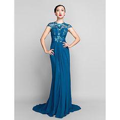 Sheath/Column Jewel Sweep/Brush Train Chiffon And Sequined Evening Dress (944181) – USD $ 179.99