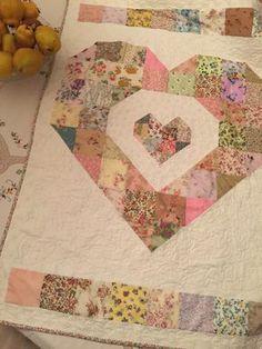 Scrappy heart Baby quilt
