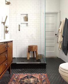 Black hexagon floor tile