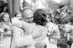 bride hugging her father  | Amy and Mikes Lakeside wedding | www.AmalieOrrangePhotography.com