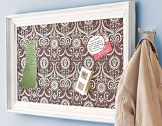 Magnetic Message Board:  Turn a large frame into a chic message board for a bedroom or home office. You will need a large frame, zinc-coated steel (aluminum and stainless steel will not hold magnets), particle board, and fabric.    Read more: Craft Organizing Ideas - Creative Organization - Country Living