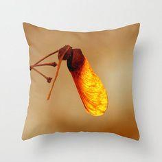 Last Glow of Fall, Art Photography, Throw Pillow Cover, Autumn Colors, Rustic Decor, Macro Amber Seed, Tree Photo, Warm Orange, Botanical