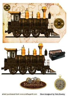 STEAMPUNK TRAIN ON A TAG on Craftsuprint designed by Nick Bowley - STEAMPUNK TRAIN ON A TAG, With case and fob watch makes a lovely card lots of other designs to see - Now available for download!