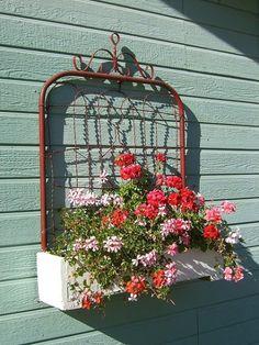 old salvaged garden gate flower box