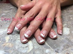 Candy cane french using CND Shellac Cream Puff and Wildfire