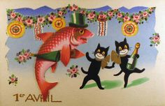 poisson d'avril vintage card
