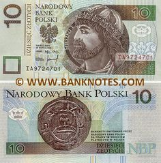 Poland 10 Zlotych 1994   Obverse: Duke Mieszko I; Coat of arms; stylised Romanesque rosettes. Reverse: Medieval silver Denar coin from the reign of Prince Mieszko I. Watermark: Duke Mieszko I. Date of Issue: 25 March 1994.