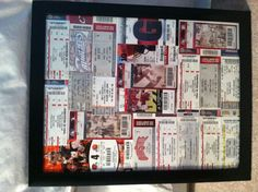 My ticket collection over the past few years, great way to display!