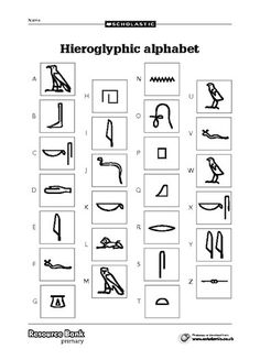 Three sheets including a hieroglyphic alphabet and code-cracking activities. Egyptian Crafts, Ancient Egyptian Art, Ancient History, Egyptian Symbols, European History, Ancient Aliens, Ancient Greece, American History, High School Art