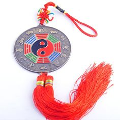 Feng Shui Bagua Mirror Zodiac Charm Chinese Knot Tassel   One Free Red String Bracelet SKU-Y1314 * Additional details at the pin image, click it  : Home Decor Tassels