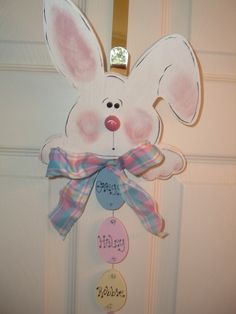 Personalized Easter Bunny Door/Wall Hanger by woodenwhimsie