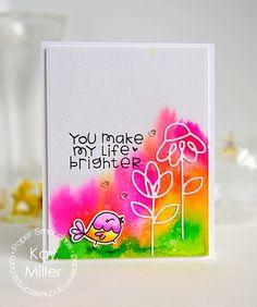 Card by Kay Miller using PS Dainty Flowers dies, Giddy Bugs stamps, My Peeps stamps/dies