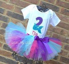 Mermaid Birthday Tutu Outfit-Mermaid Tail Birthday Number Tutu Set-Mermaid Party Outfit-Mermaid Birthday Outfit