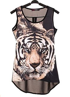 75e78a6133ce0b Tiger Leopard Print Splicing Personality Chiffon Vest Black at Amazon  Women s Clothing store  T Shirt ...