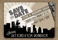 Love-in-the-City-1920s-style-Art-Deco-Movie-Cinema-Poster-Vintage-Great-Gatsby-themed-Wedding-Save-the-Date-by-In-the-Treehouse1 - Luxo de Festa