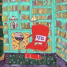 library print, read to me, book lover gift, home decor, children's room, library illustration, red chair by ZinniaAwakens on Etsy
