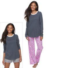 Juniors' SO® Pajamas: Knit Pants, Shorts & Top 3-Piece PJ Set, Teens, Size: Xl Short, Brt Pink