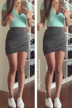 Shirring Mini Skirt - Grey – Colors of Aurora