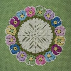 Reminds Me Of My Grandma. She Had A Display Of African Violets In Her Guest Bedroom And She Kept Pretty Doilies Under Each Pot Beautiful Filet Crochet, Thread Crochet, Crochet Motif, Crochet Doilies, Crochet Flowers, Knit Crochet, Crochet Patterns, Crochet Tablecloth, Garter Stitch