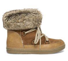 Boots lacets fourré camel