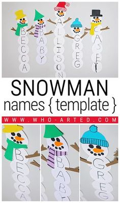 Name Snowman Preschool Craft and Free Printable – Loading Winter Crafts For Kids, Winter Kids, Winter Snow, Winter Activities For Kids, Preschool Christmas, Christmas Activities, Preschool Winter, Snow Activities, Science Activities