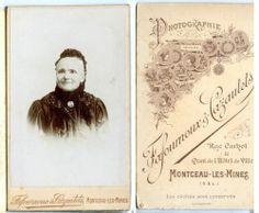 Photo Ancienne Xixe CDV Montceau LES Mines Portrait D'UNE Femme Âgée