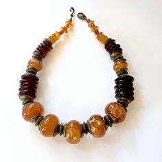 Stunning Large Bead Necklace-Amber Butterscotch Colored , Princess Length-Boho Statement Necklace*