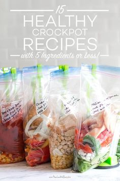 I love crockpot recipes because they're so easy to make. The thought of cooking dinner at feels impossible, but adding ingredients to the crockpot in the morning is doable. 21 Day Fix, Clean Eating Snacks, Healthy Eating, Healthy Food, Crock Pot Freezer, Paleo, No Bake Snacks, Five Ingredients, Slow Cooker Recipes