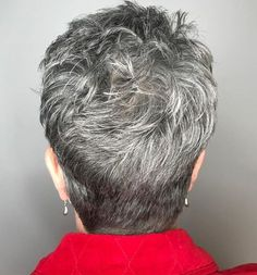 Tapered Gray Pixie with Textured Crown