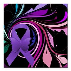 "Purple Ribbon, Colorful Square Car Magnet 3"" x 3"" on CafePress.com #Lupus #fibro"