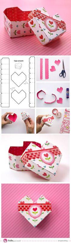 caja de papel en forma de corazón - origami heart box Anita y su mundo