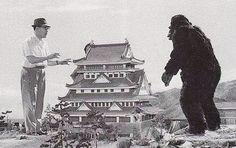Behind the scenes of King Kong vs. Godzilla with Eiji Tsuburaya.