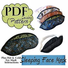 pattern+for+sleeping+mask | Sleeping Eye Mask PDF Sewing Pattern with instructions for hot and ...