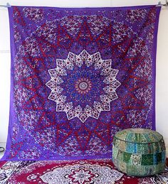 PSYCHEDELIC Star Mandala Hippie Tapestry Wall Hanging Indian Bedding Bedspread #Handmade #Psychedelic