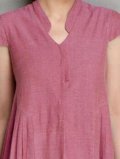 Dark Pink Cotton Side Pleated Kurta by Jaypore Simple Kurti Designs, New Kurti Designs, Kurta Designs Women, Kurti Designs Party Wear, Neck Designs For Suits, Neckline Designs, Sleeves Designs For Dresses, Blouse Neck Designs, Latest Salwar Kameez Designs