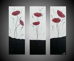 Acrylic Paintings Abstract Poppies Flower Floral by acrylkreativ, $189.00