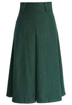 Wool Blend Full Skirt in Green - Bottoms - Retro, Indie and Unique Fashion