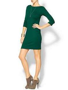 Amanda Uprichard Exclusive 3/4 Sleeve V-Back Ponte Dress   Piperlime.....I loveeee this green!