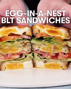 Egg-in-a-Nest BLT Sandwiches -Tasty - Food Videos And Recipes Yummy Recipes, Cooking Recipes, Healthy Recipes, Cooking Kale, Egg Recipes, Tasty Videos, Food Videos, Good Food, Yummy Food