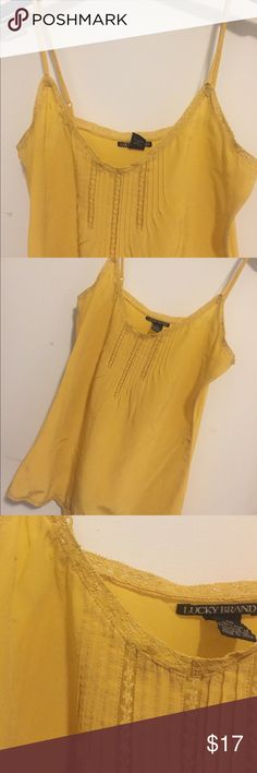 Lucky Brand, Yellow Silk Cami Lucky Brand yellow, silk cami with lace detail. Slight stain at right shoulder, pictured. 100% silk, dry clean only. Size XS. Lucky Brand Tops Camisoles