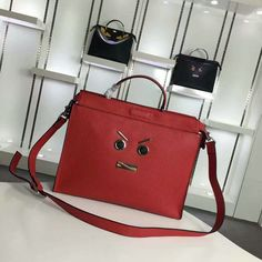 2016 A/W Fendi Red Fendi Faces Peekaboo Briefcase Bag for Men